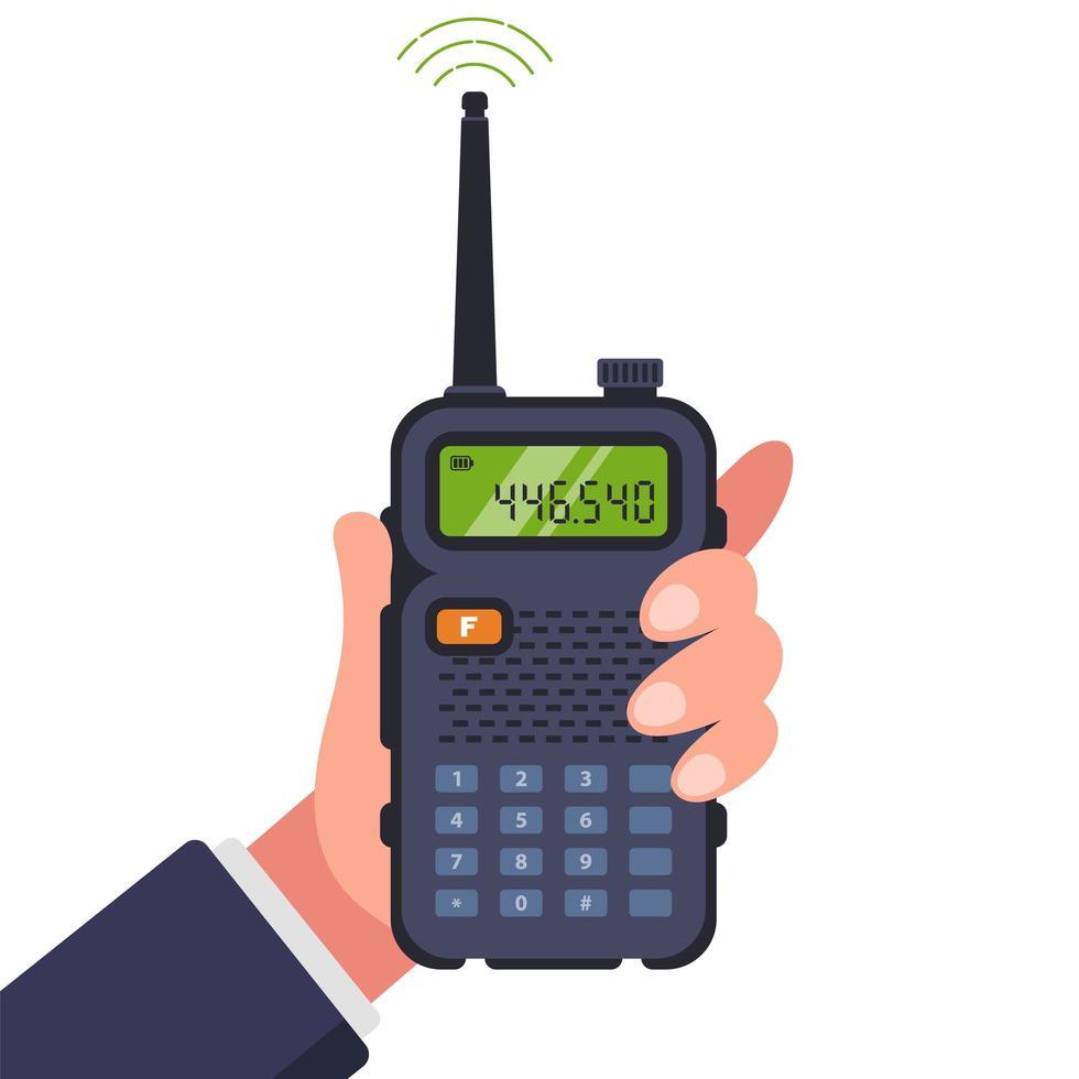 man houdt walkie-talkie in de hand voor communicatie vector