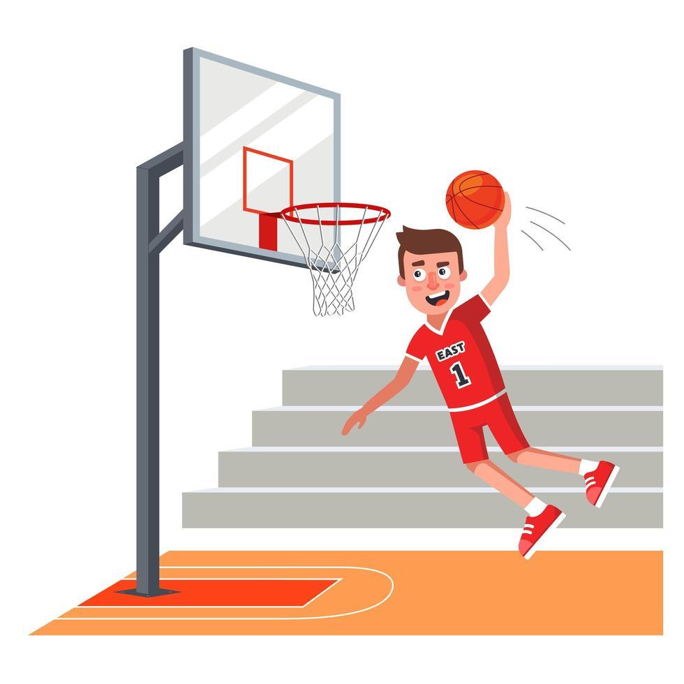 basketbalspeler in rood uniform bal gooien in hoepel vector