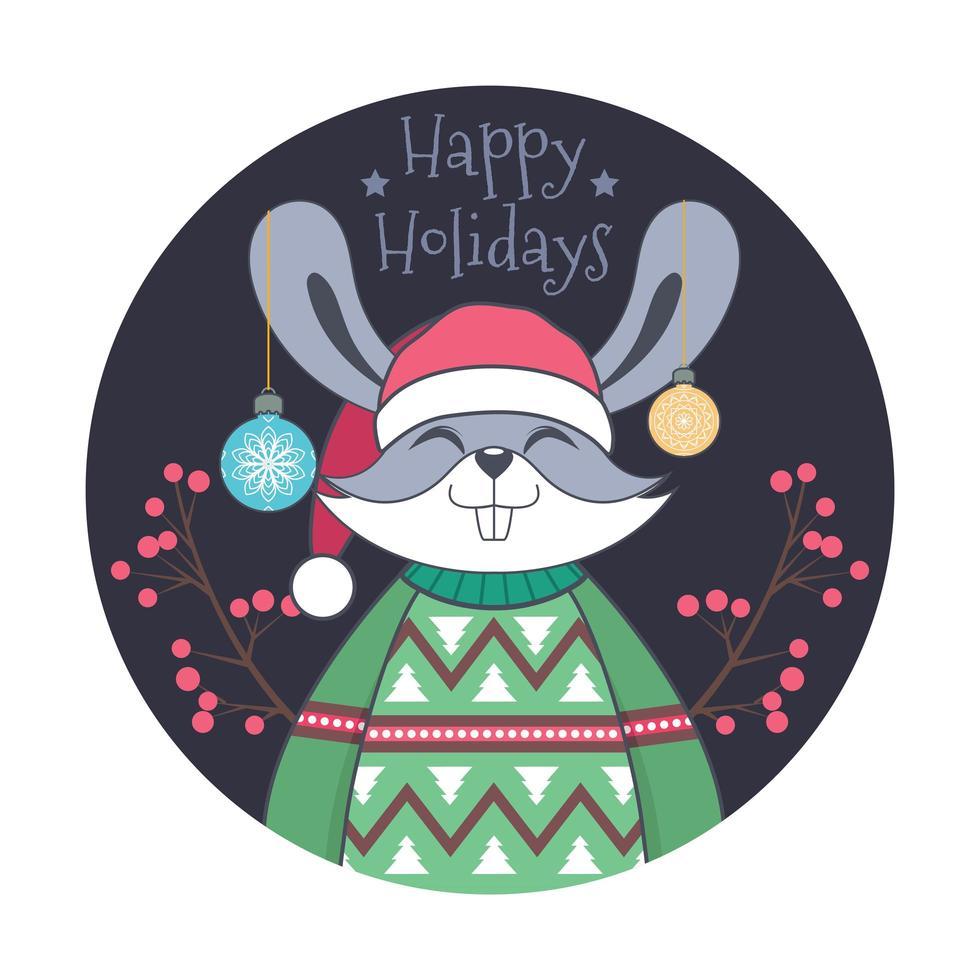 kerstgroet met schattig konijn in lelijke trui vector