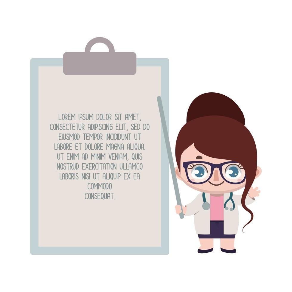 vrouwelijke arts die naar klembord met aangepaste tekst wijst vector