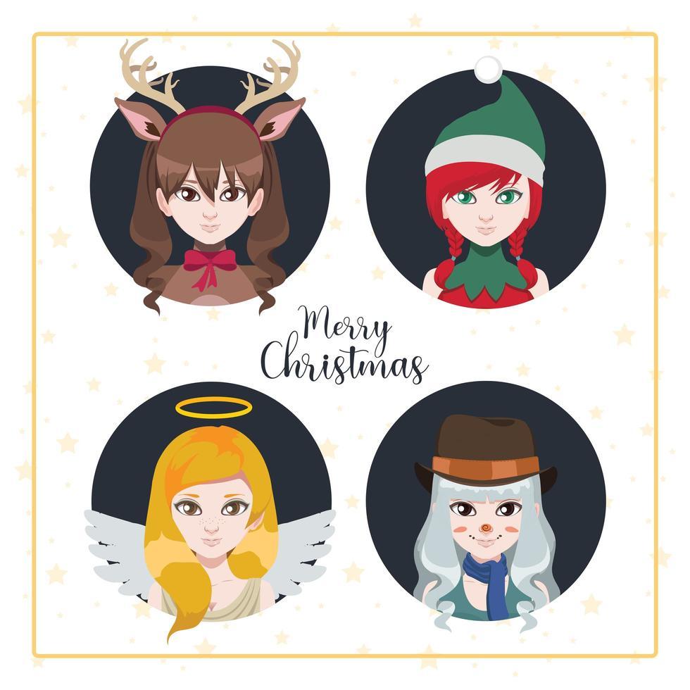 vrouwen verkleedden zich als kerstpersonages vector