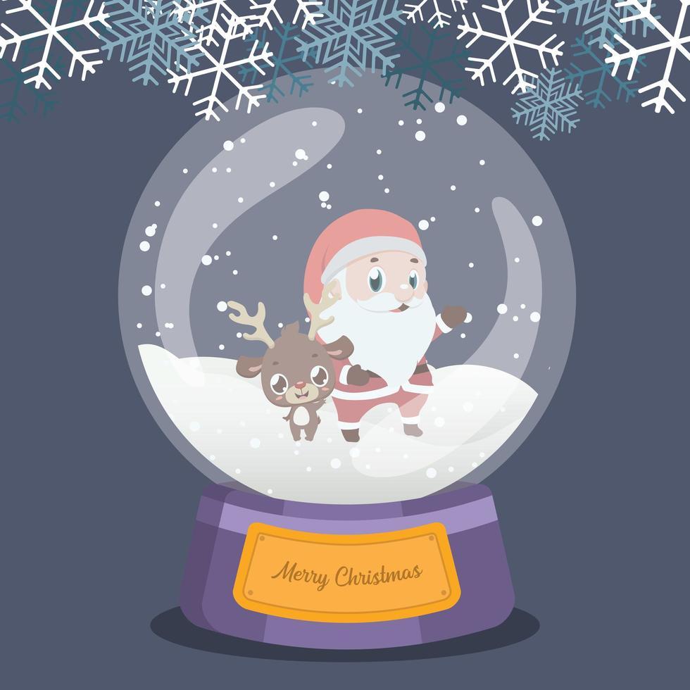 Kerstmissneeuwbol met schattige rendieren en santa binnen vector