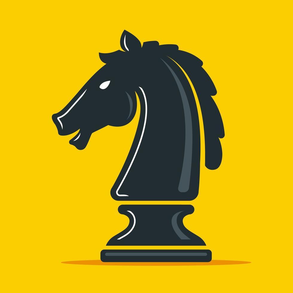 schaakstuk ridder op geel vector