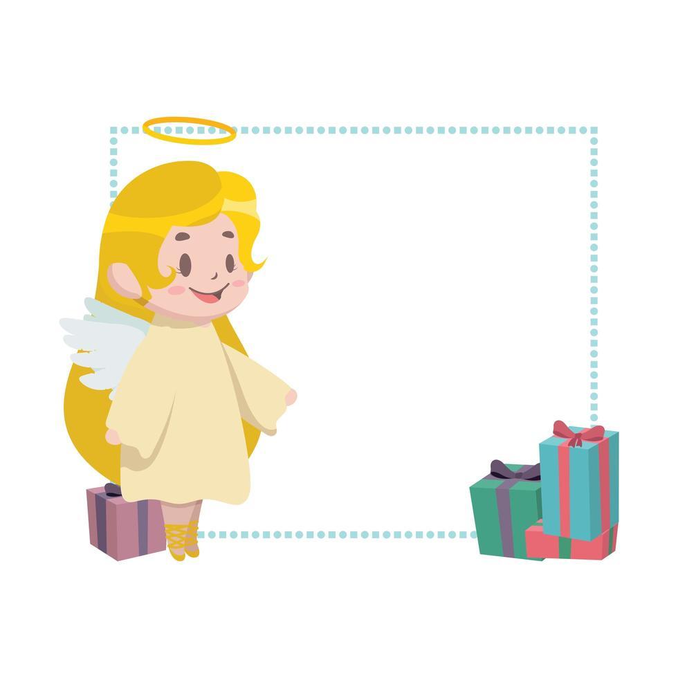 kerst grens decor met kleine engel vector