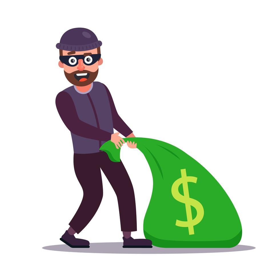 gemaskerde overvaller sleept een zak geld vector