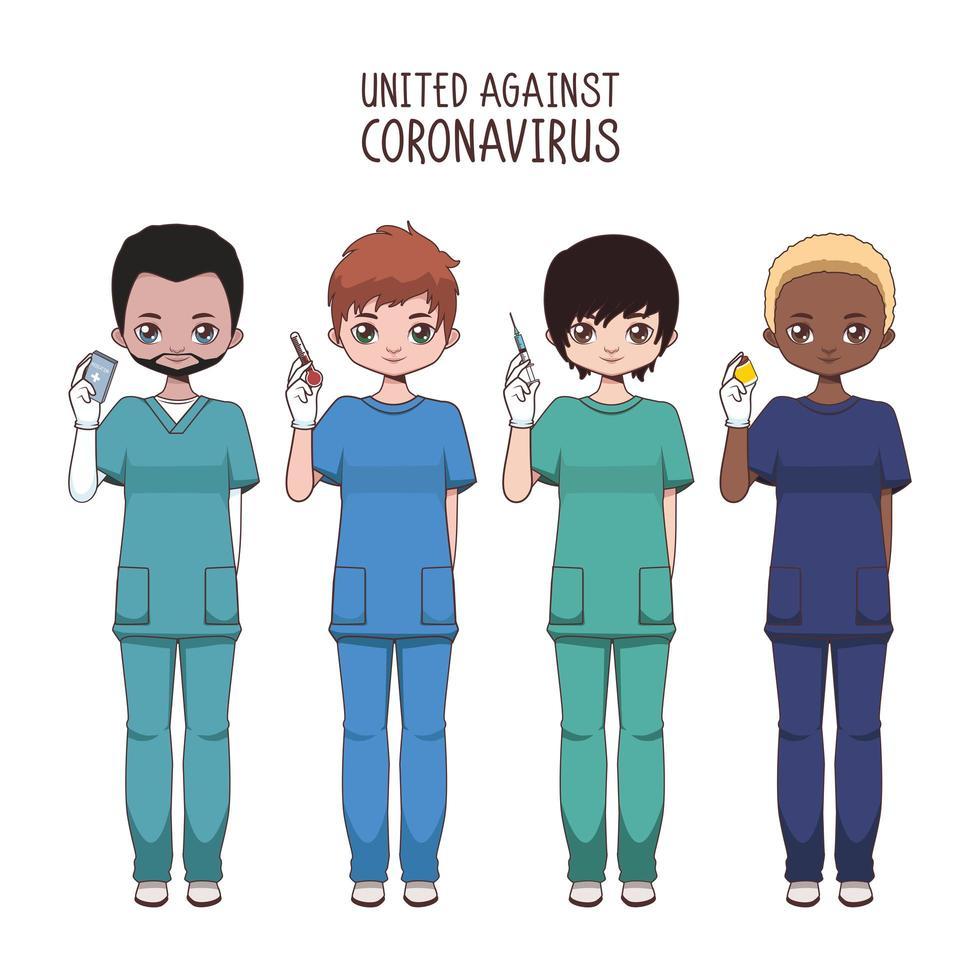 team van diverse mannelijke verpleegsters vector