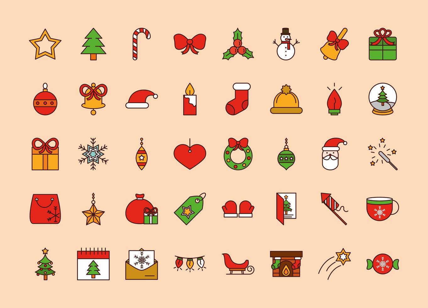 kerstlijn en opvulling pictogramserie vector