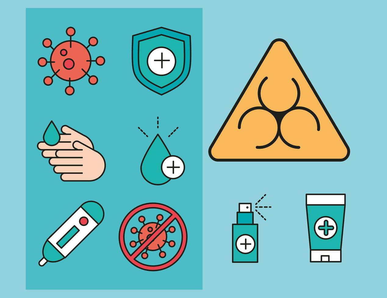 coronavirus preventie pictogramserie vector
