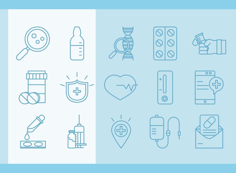 vaccin onderzoek en wetenschap icoon collectie vector