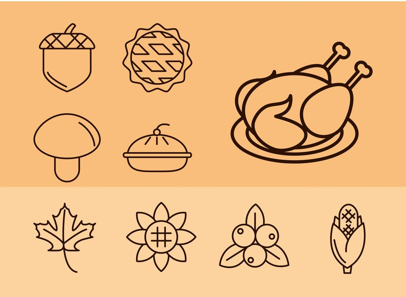 thanksgiving day viering pictogramserie vector