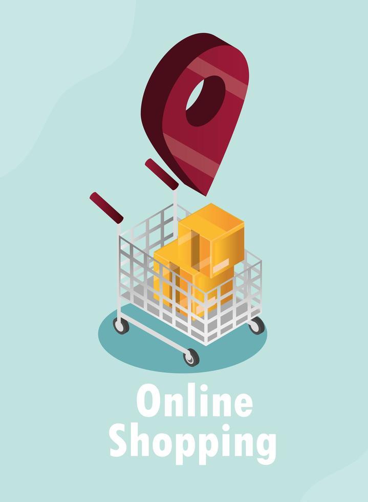 online winkelen en e-commerce isometrische samenstelling vector