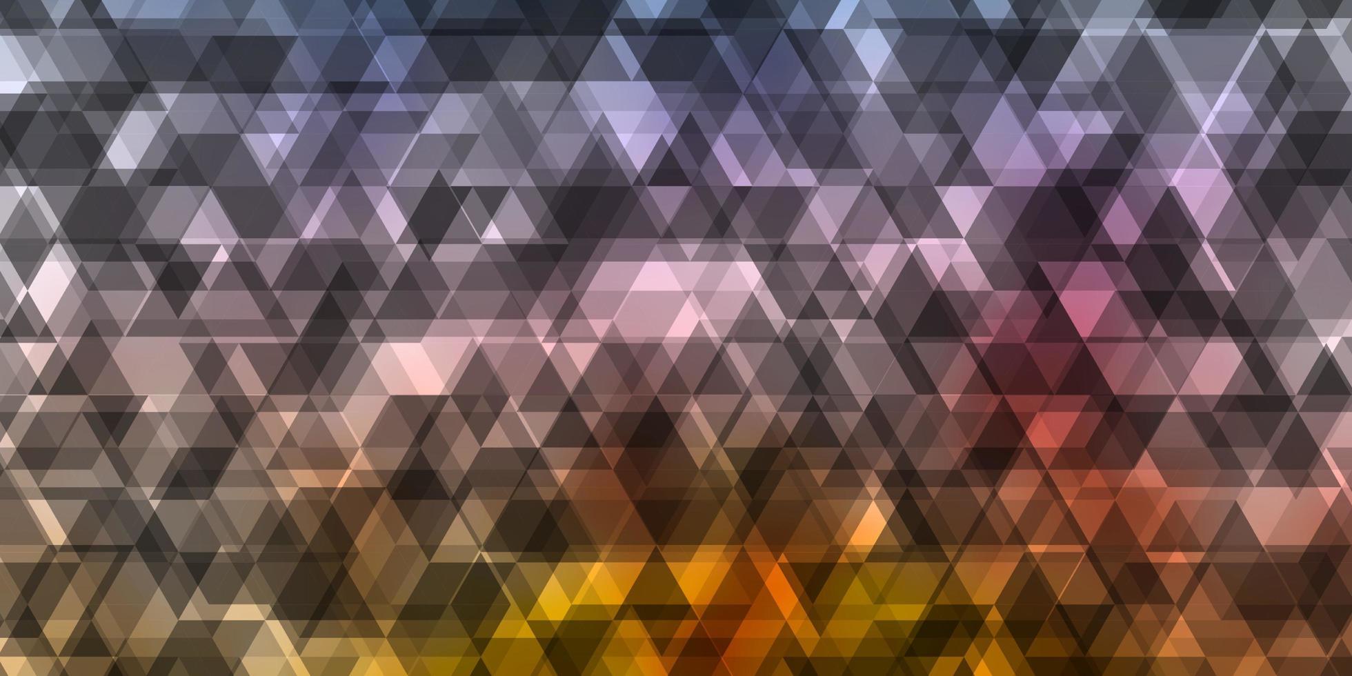 blauwe, paarse en gele achtergrond met driehoeken. vector