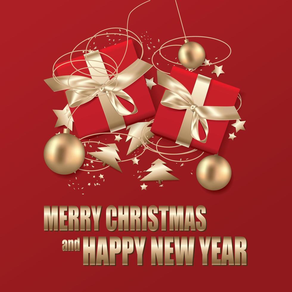 Kerstaffiche met geschenken en ornamenten in rood en goud vector