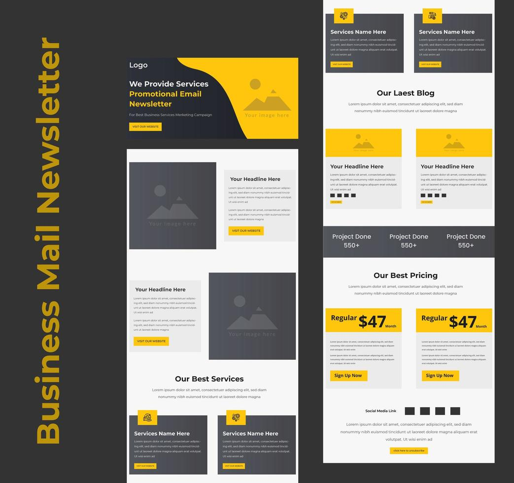 zakelijke services promotionele B2B e-mailsjabloon vector