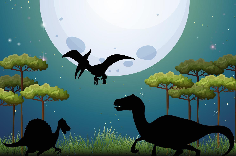 dinosaurus op aardachtergrond bij nacht vector