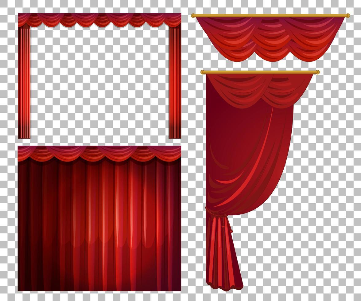 verschillende ontwerpen van rode gordijnen vector