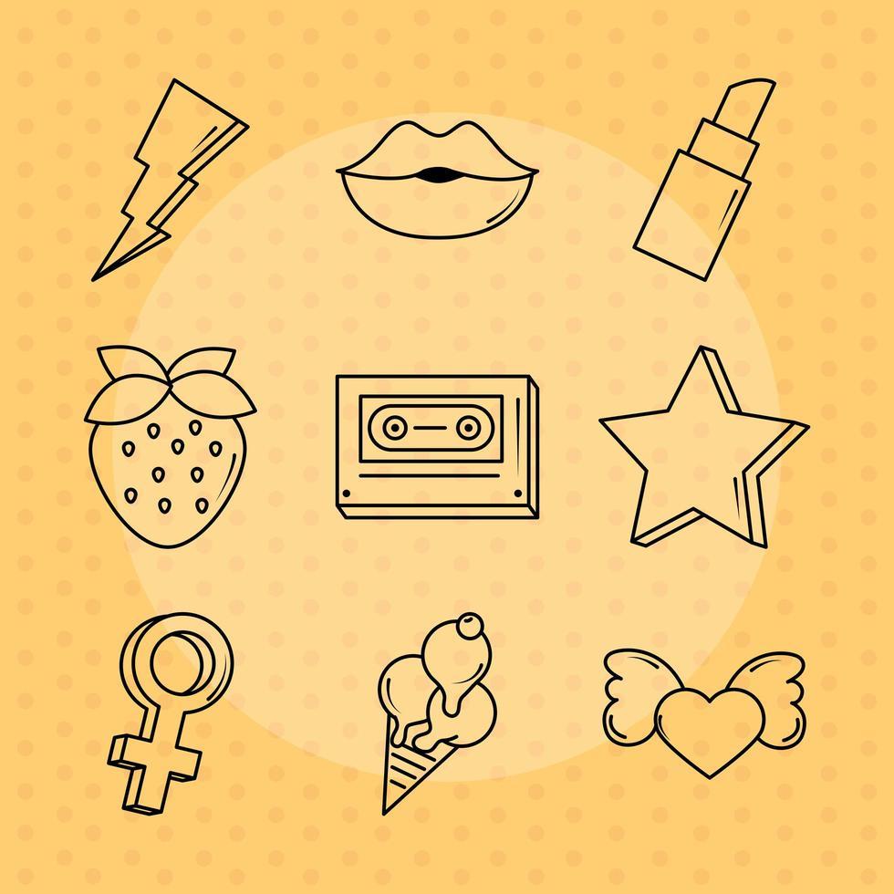 popart en komische pictogramserie vector