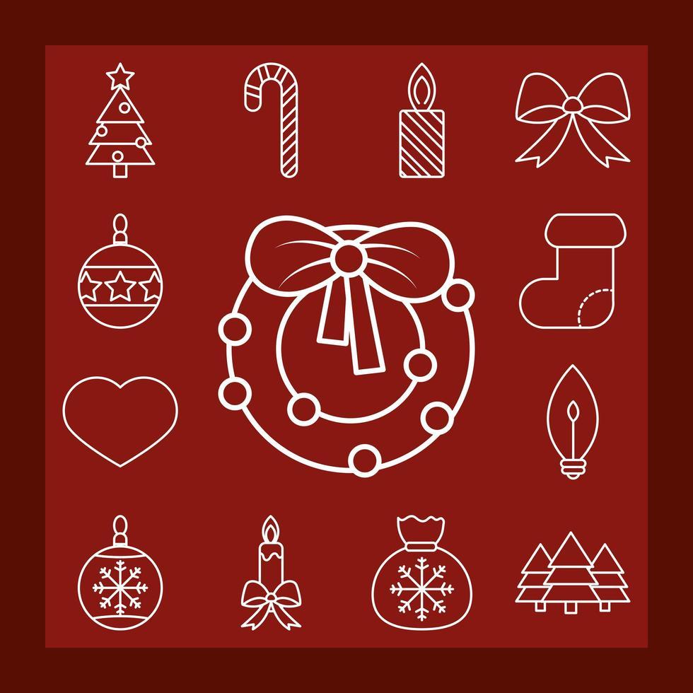 Kerst lijntekeningen icoon collectie vector