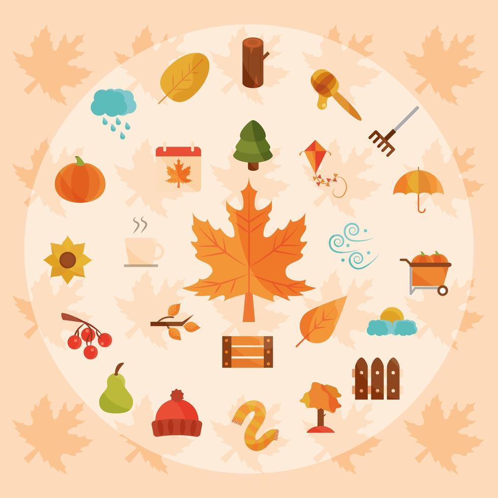 herfst seizoen pictogramserie vector