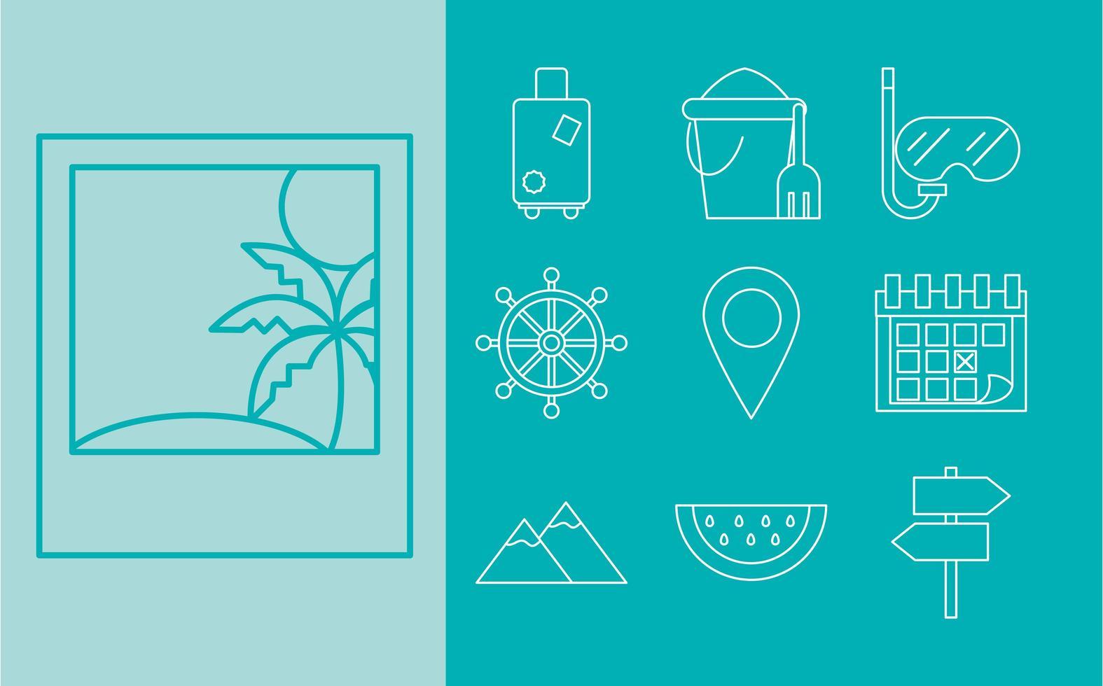 reizen en toerisme pictogramserie vector
