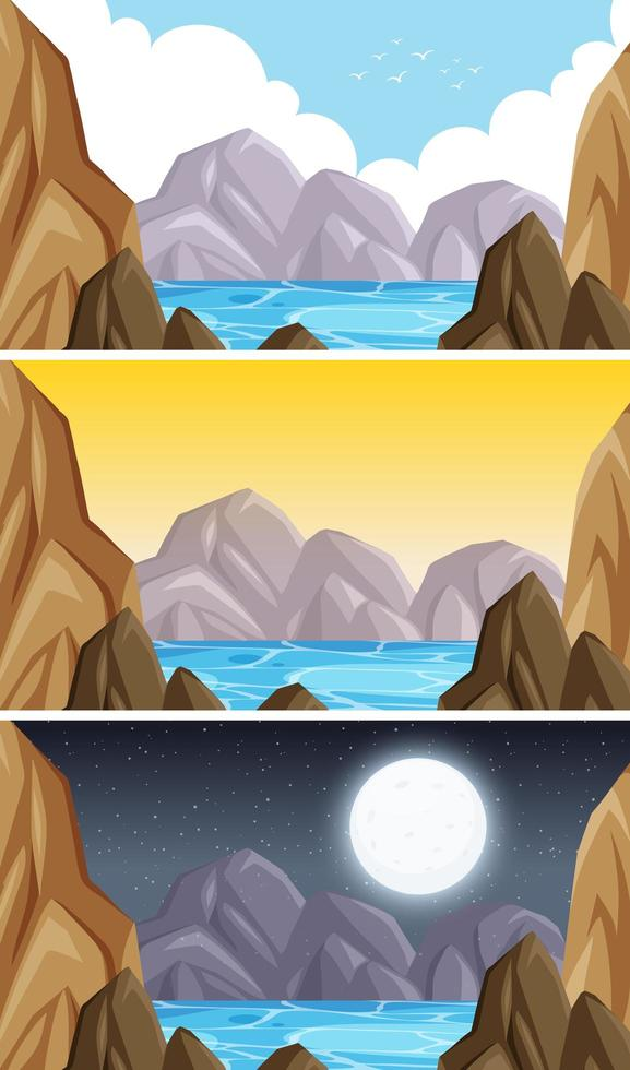 natuur landschap berg scène set vector
