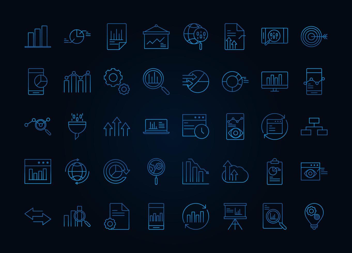 gegevensanalyse, bedrijfs- en marketingstrategie icon set vector