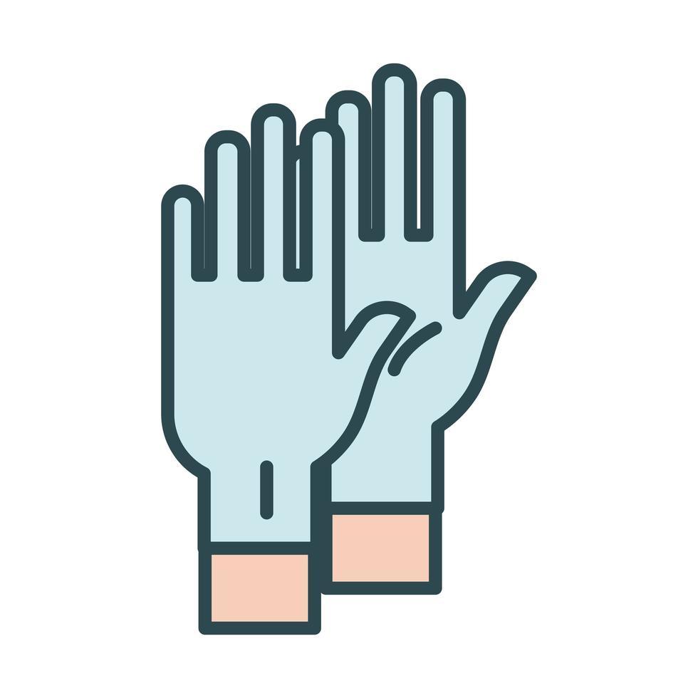 handen met latex handschoenen vullen stijlicoon vector