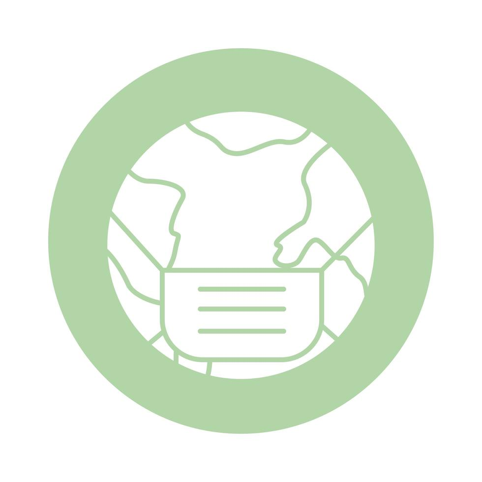 wereldplaneet met gezichtsmasker accessoire blok silhouet stijl vector