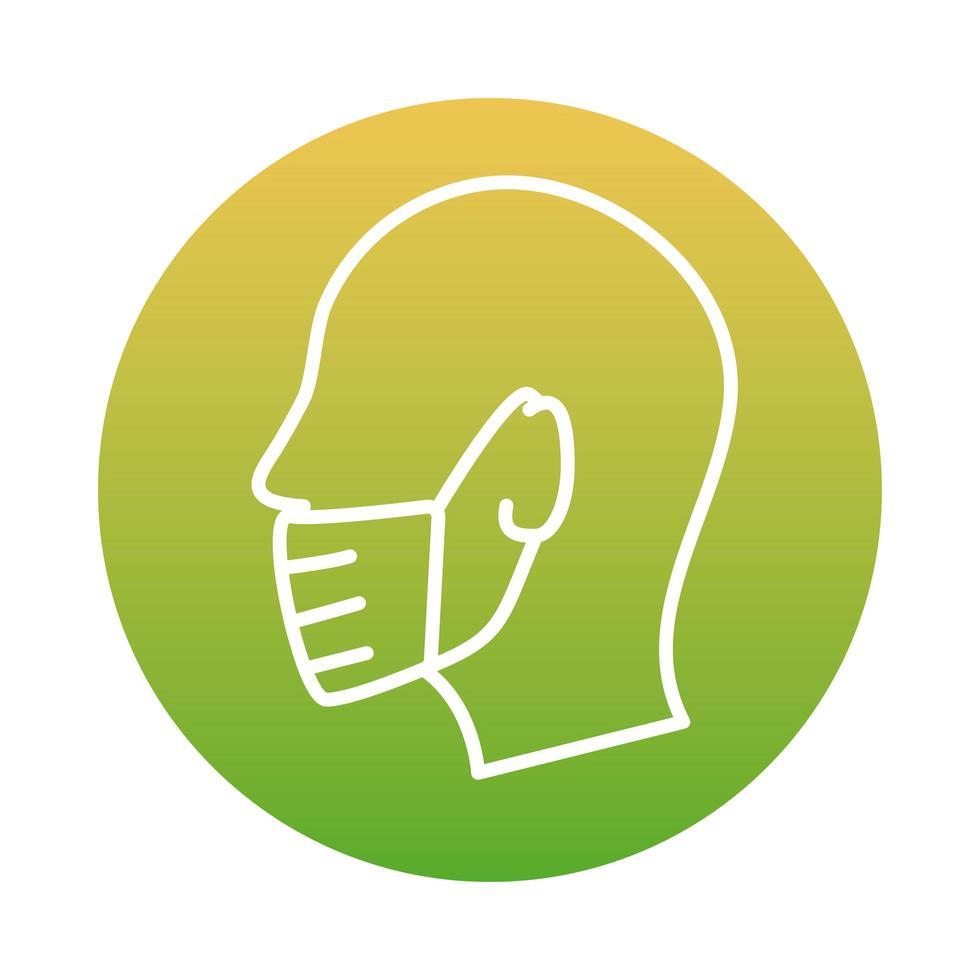 profiel met behulp van gezichtsmasker blok stijlicoon vector