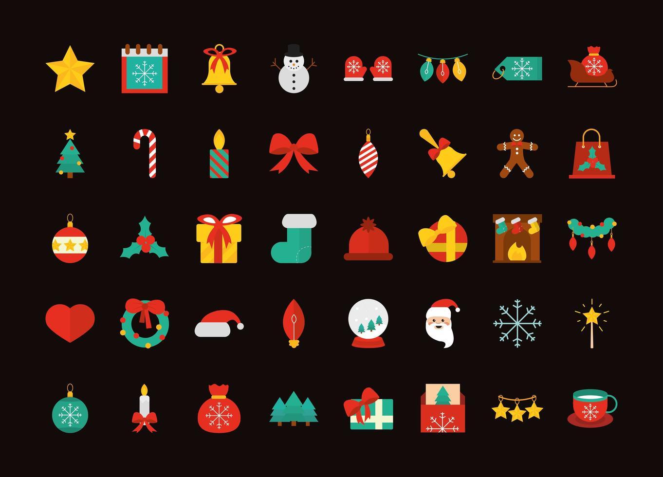 kerst platte icoon collectie vector