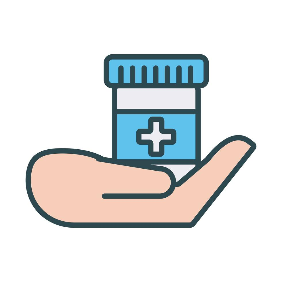 medische fles medicijnen vullen stijl vector