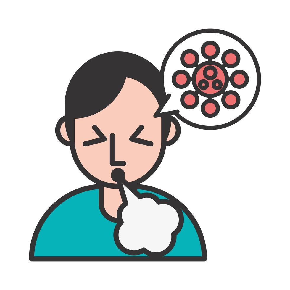 persoon met hoest covid19 symptoom en sporen in tekstballon vector