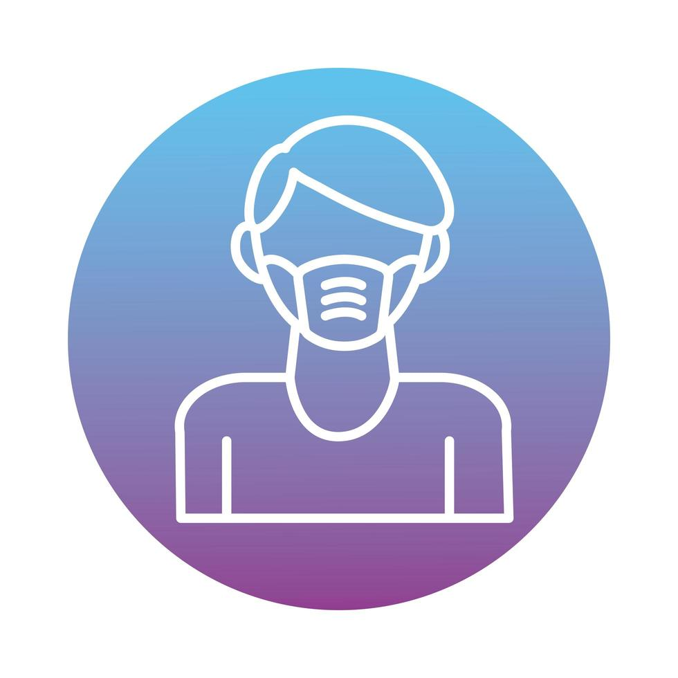 man met gezichtsmasker accessoire blokstijl vector
