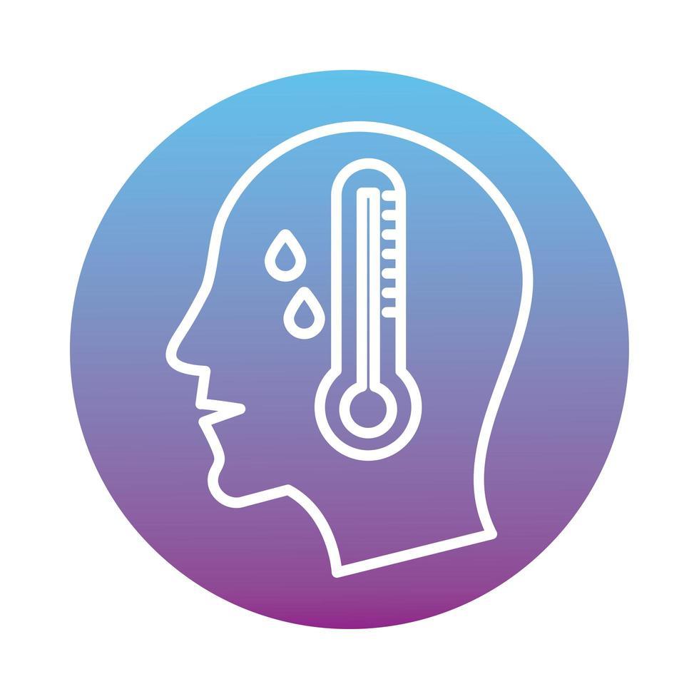 profiel mens met koorts en thermometer blok stijlicoon vector