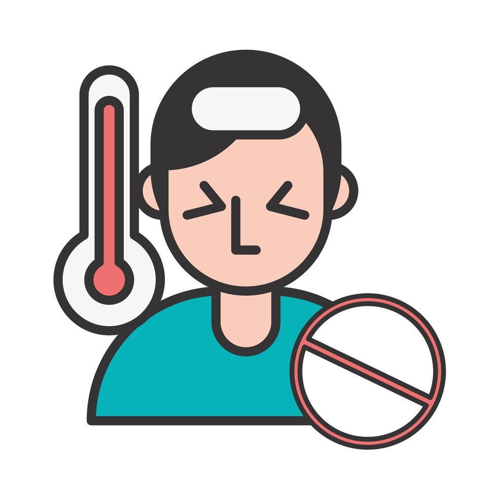 persoon met koorts covid19 symptoom en stop-symbool vector