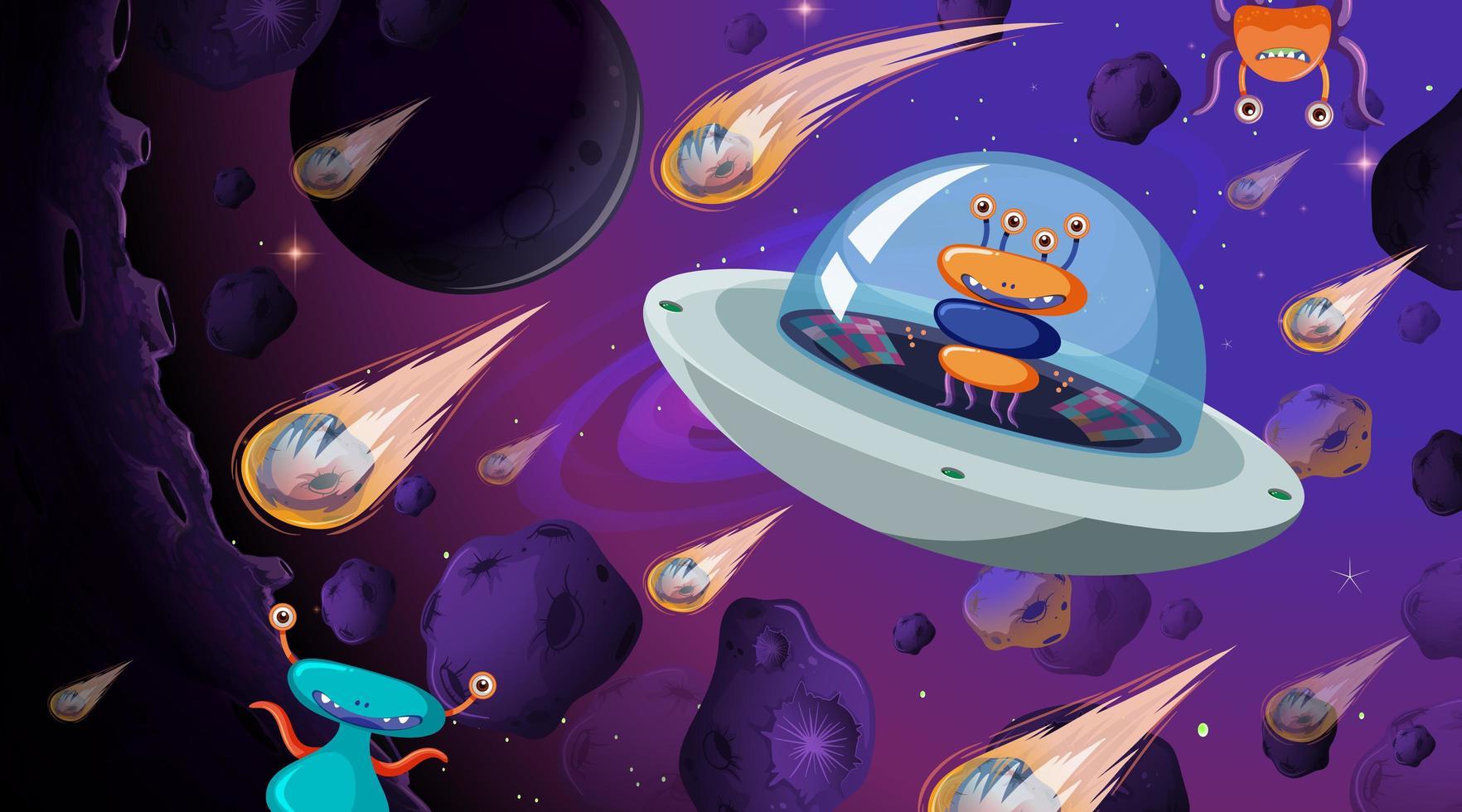 alien in ruimteschip vector