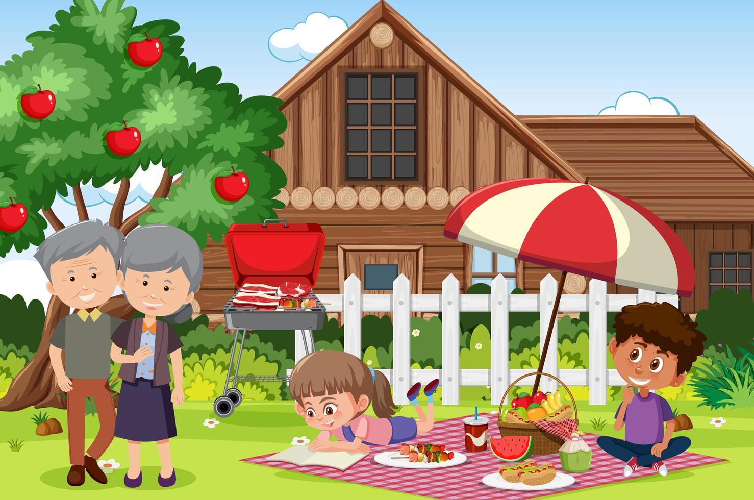 picknickscène met gelukkige familie in tuin vector