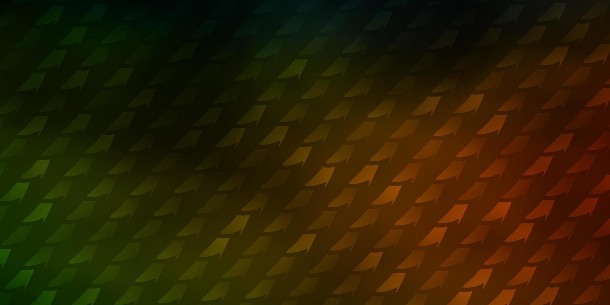 donkergroene en rode lay-out met abstracte vormen vector