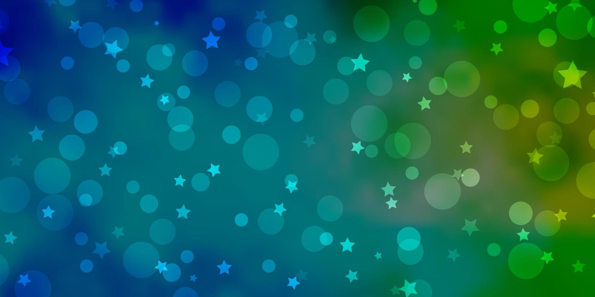 blauwe en groene textuur met cirkels, sterren. vector
