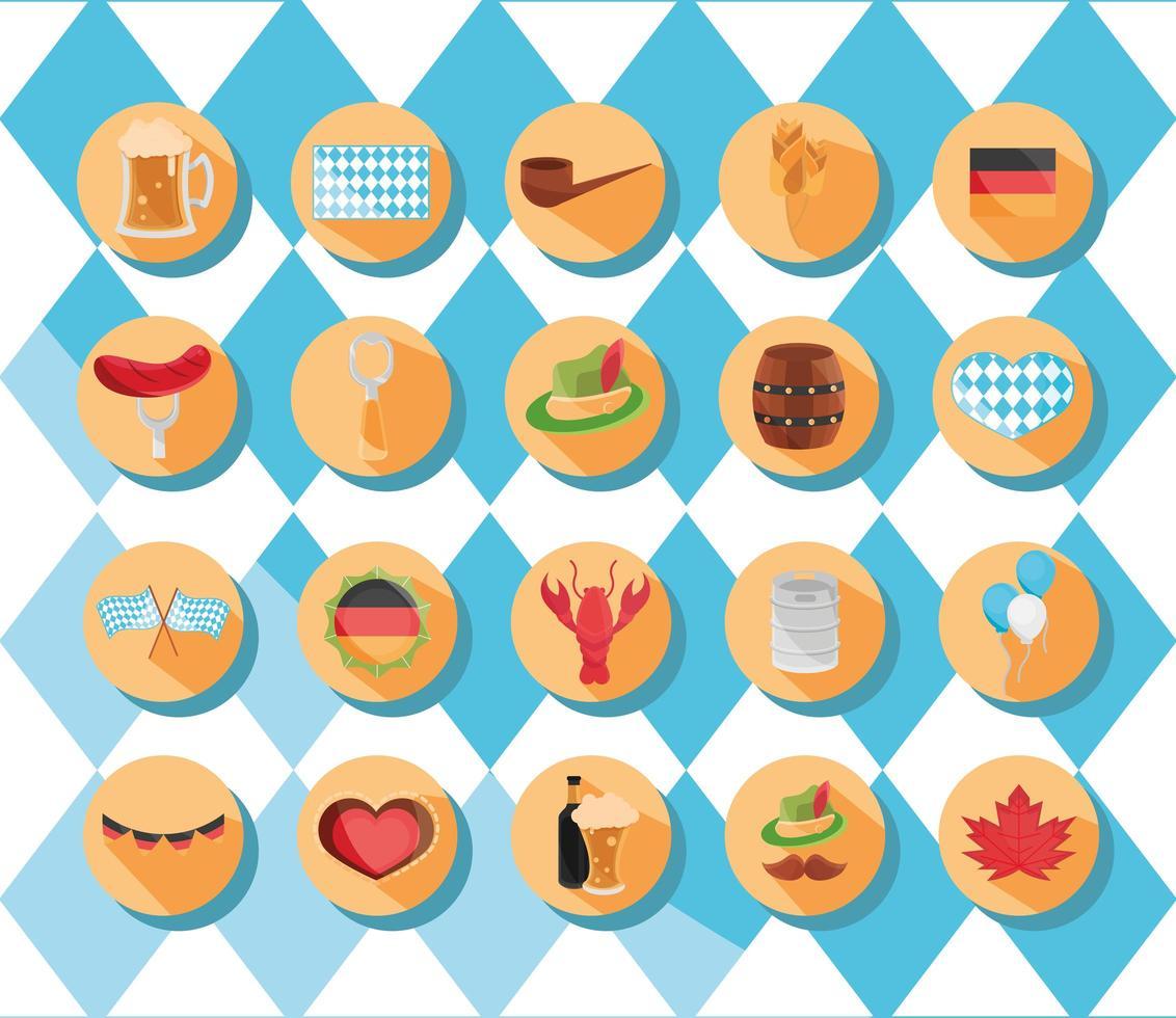 Oktoberfest bierfestival en Duitse viering icon set vector