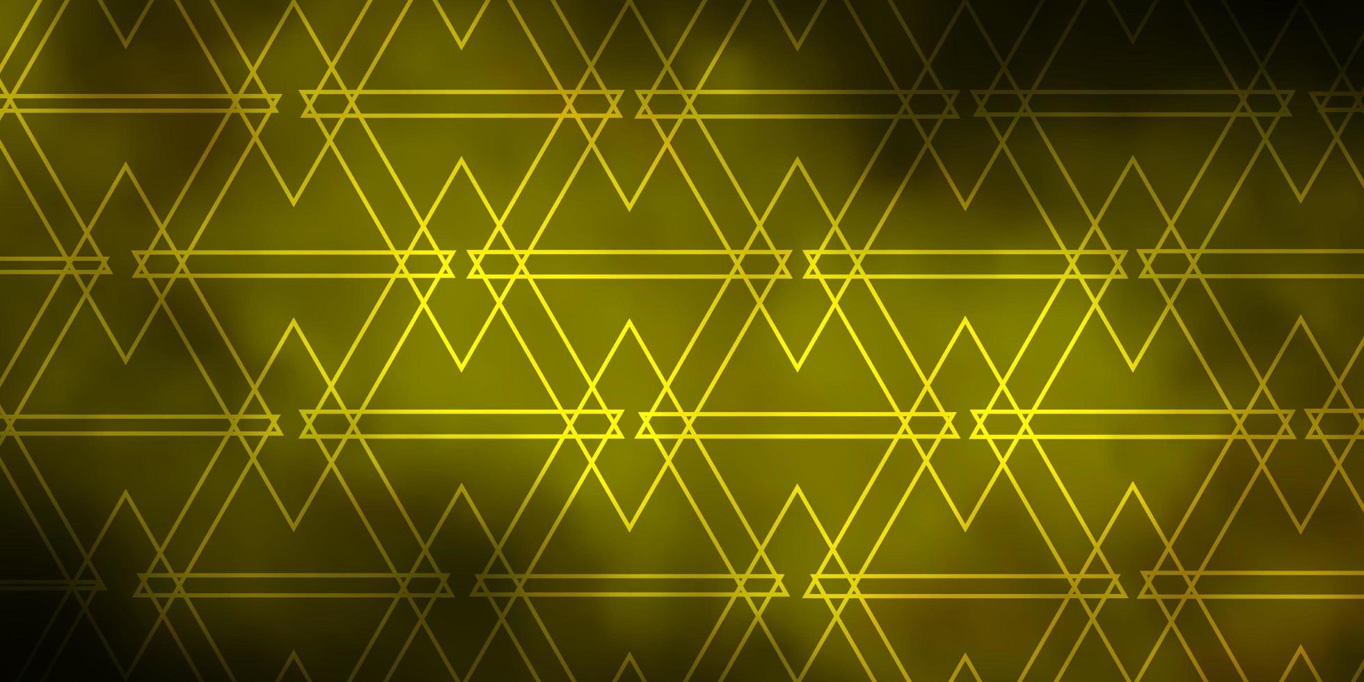 donkergroene en gele achtergrond met driehoeken. vector