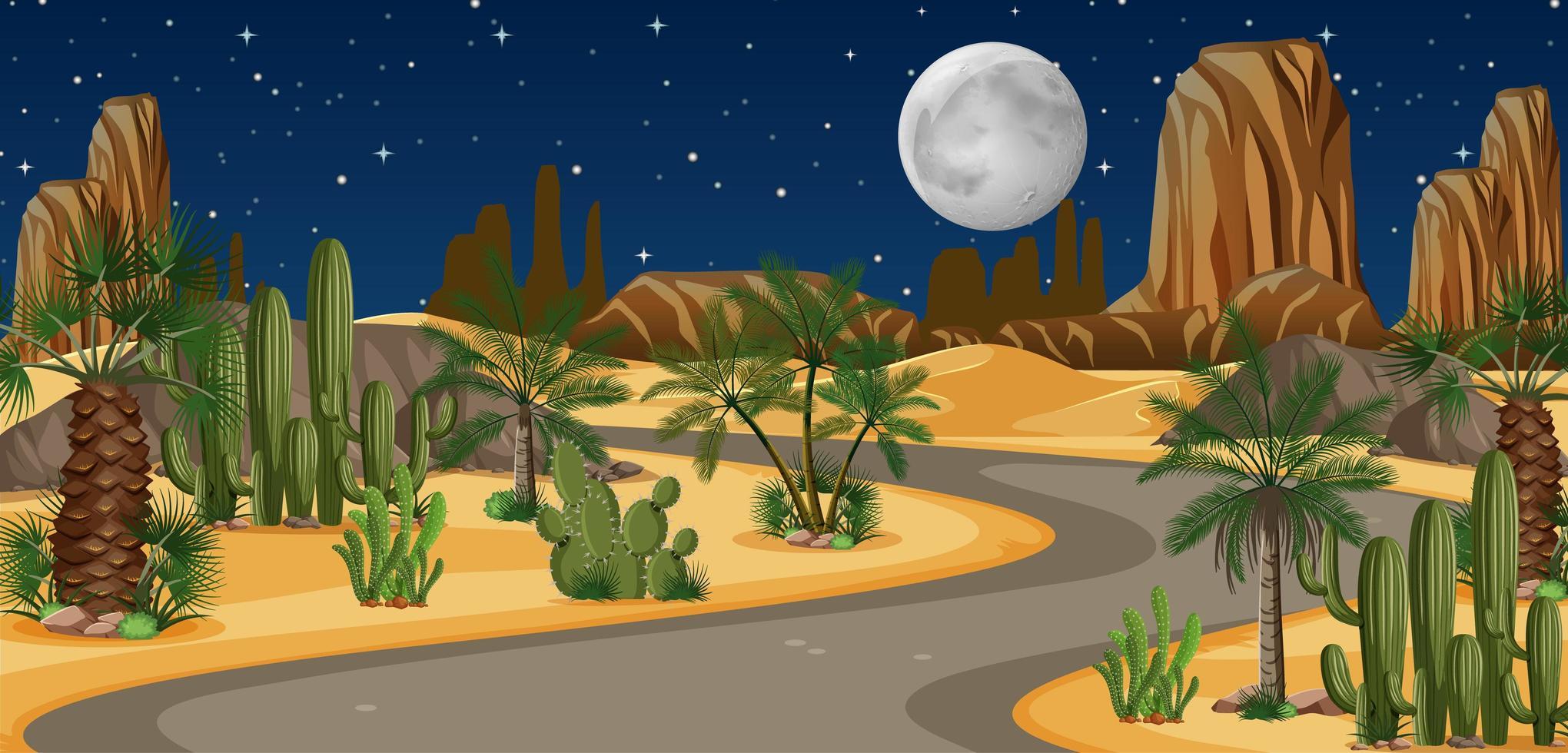 woestijnoase met lang wegenlandschap vector