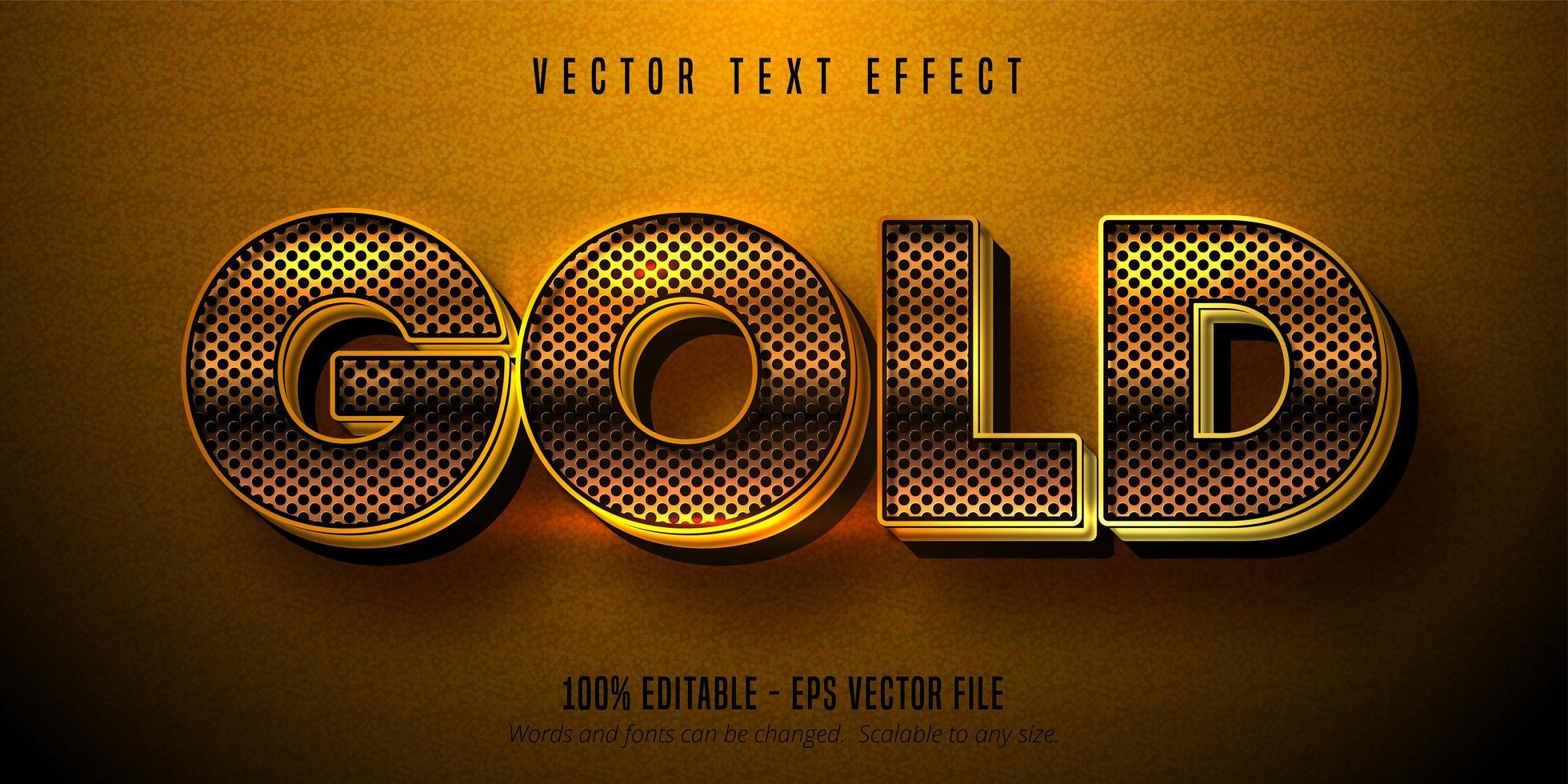 metallic gouden teksteffect, glanzende gouden alfabetstijl vector
