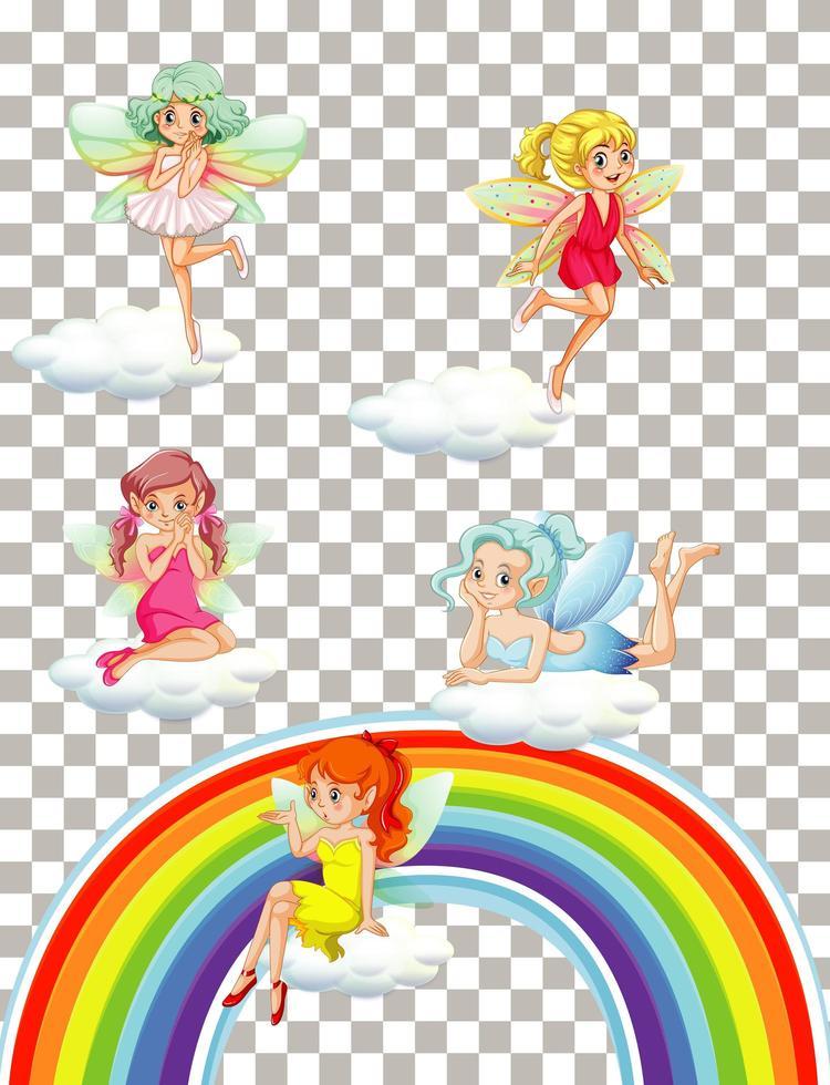 schattige feeën met regenboog op transparante achtergrond vector