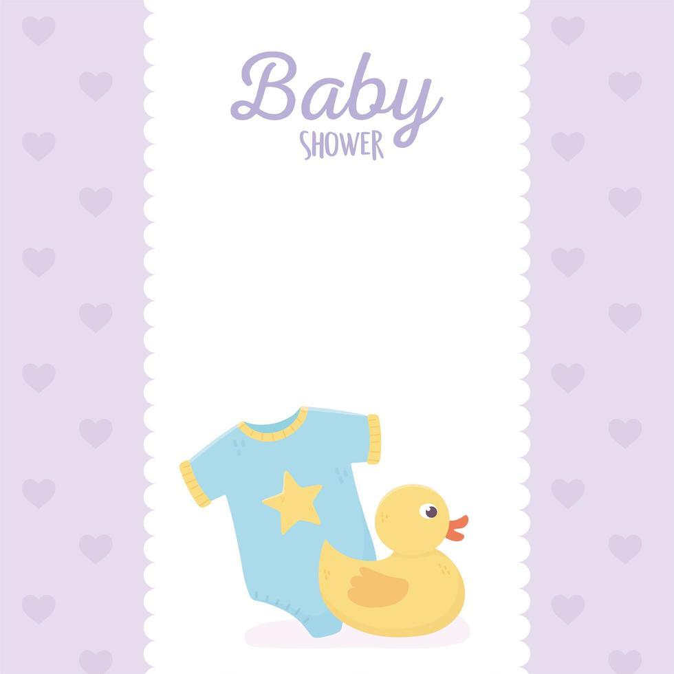babydouche paarse kaart met babypictogrammen vector