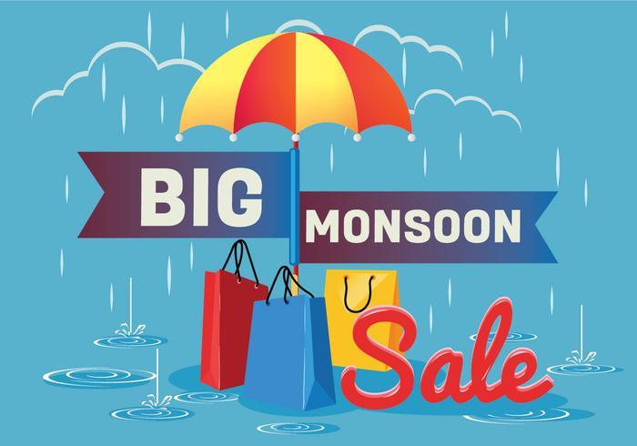 Verkoop Poster voor moessonseizoen met regen druppels met boodschappentas en Paraplu vector