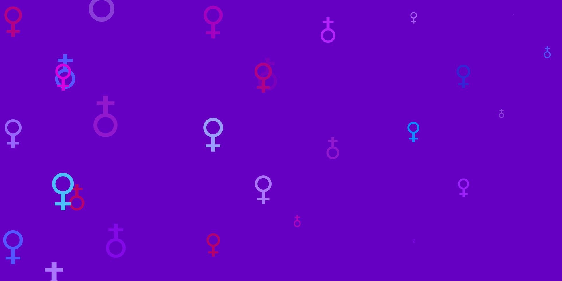 paarse achtergrond met machtssymbolen van de vrouw. vector