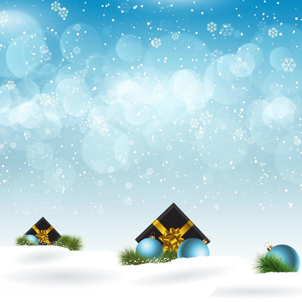 kerstcadeaus genesteld in de sneeuw vector