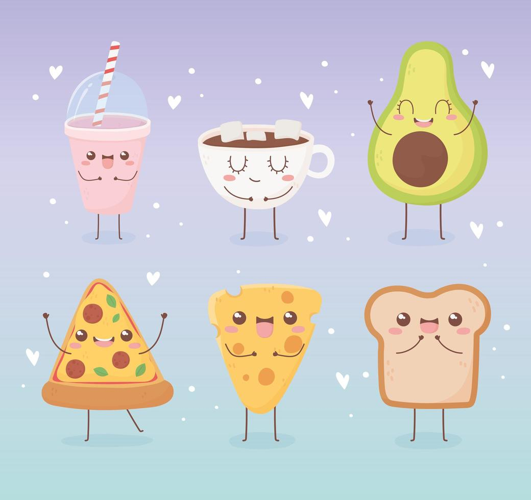 kawaii voedsel cartoon tekenset vector