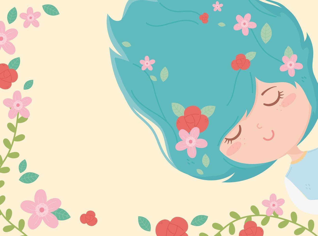 banner met jonge vrouw en bloemen vector
